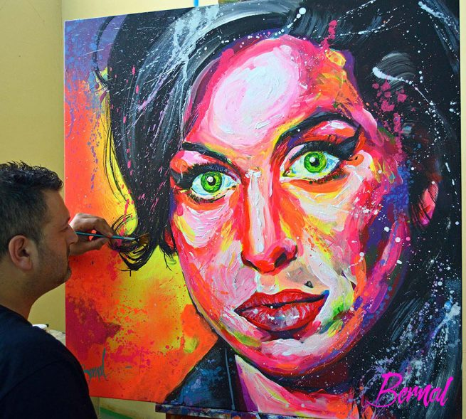 Retrato fluor Amy Winehouse by Bernal