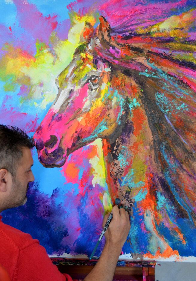 caballo arabe pintado por javeir bernal artist con fluor