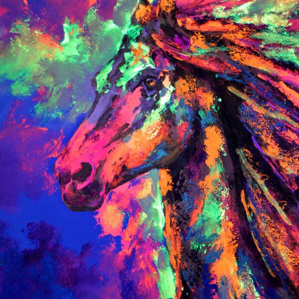 Caballo pintado con fluor de Javier Bernal