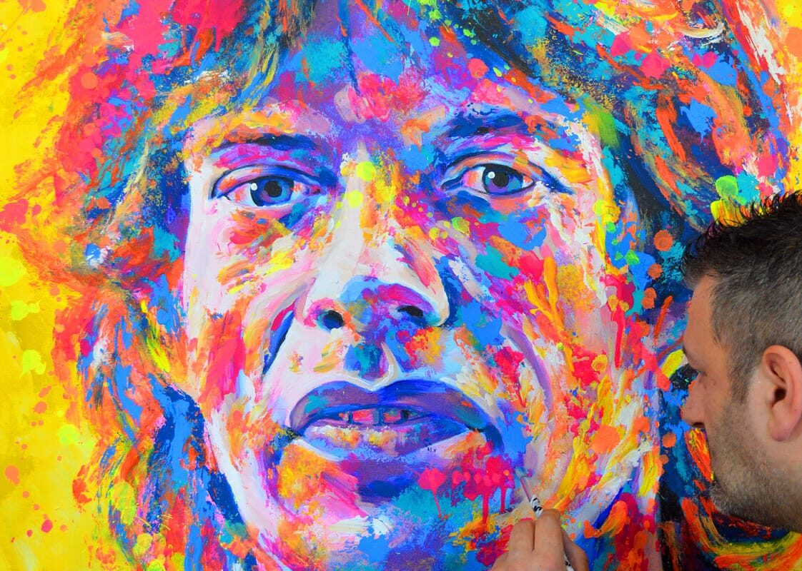 Contemporary fluor art portrait Mick Jagger
