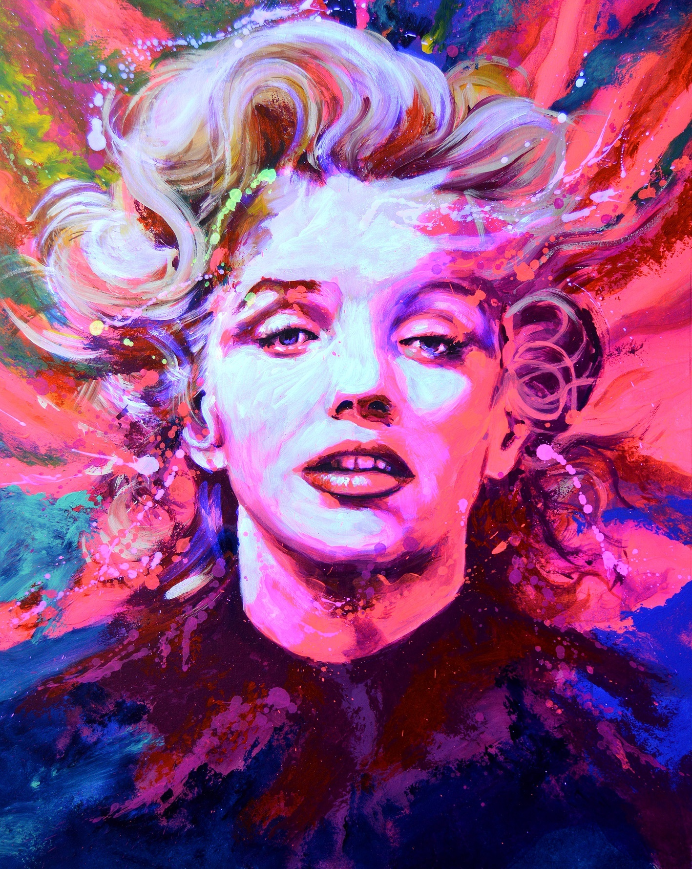 Javier Bernal fluor art portrait Marilyn Monroe contemporary art