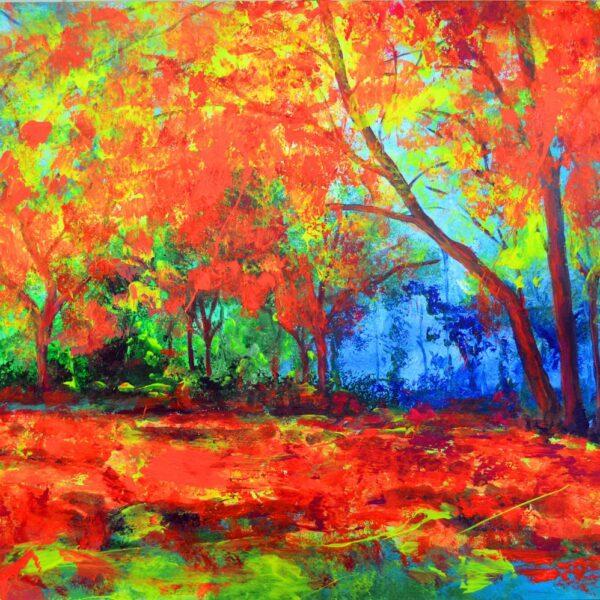 Atardecer Bosque Fluor art Javier Bernal