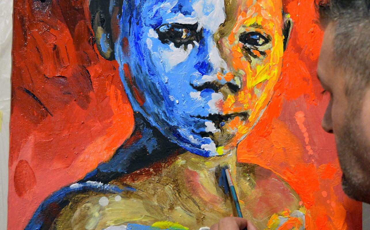 Retrato arte vanguardista fluor Bernalart