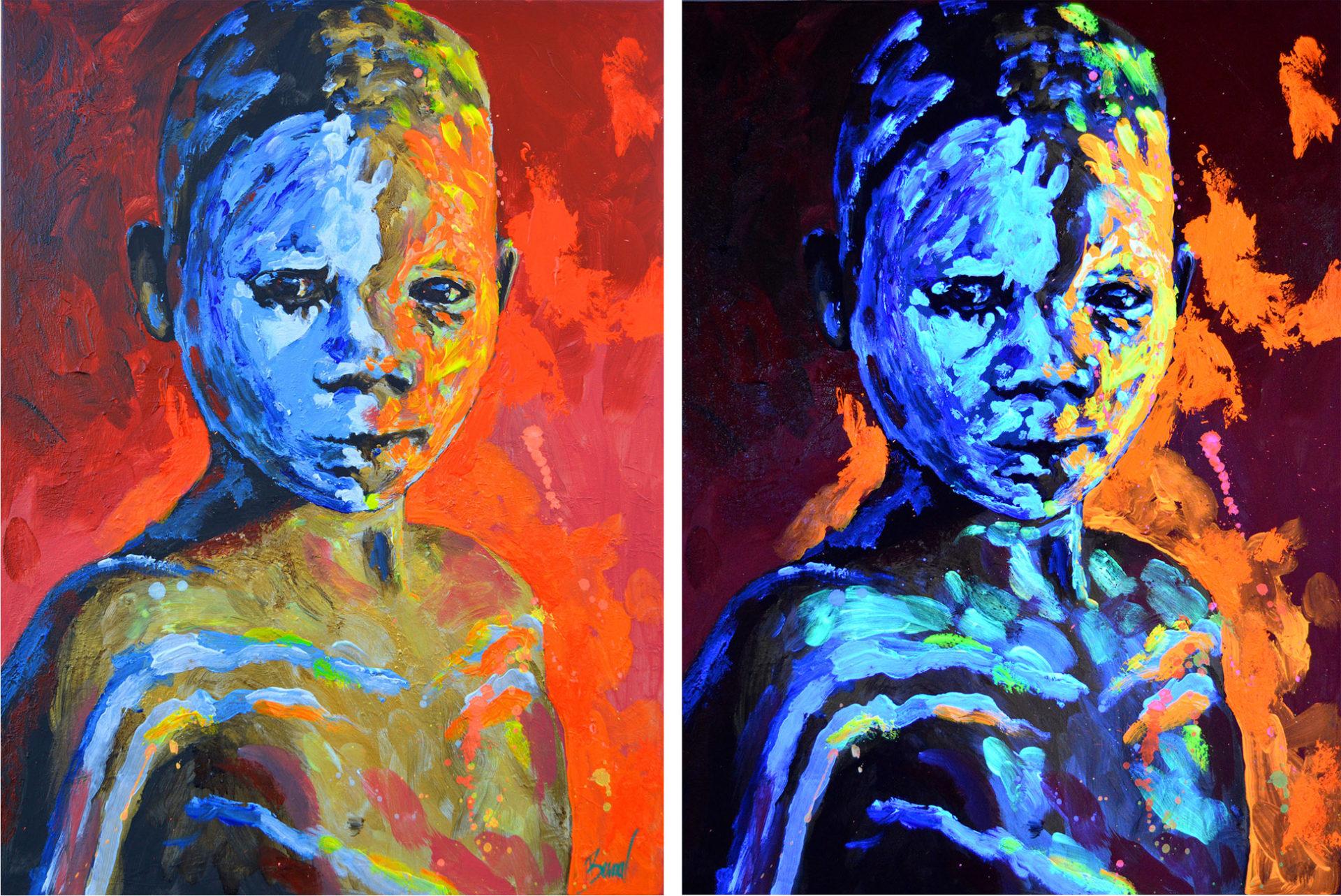 Retrato arte vanguardista Niño Himba Bernalart