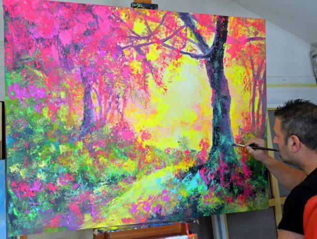 Bernal art paisaje flúor de bosque otoño